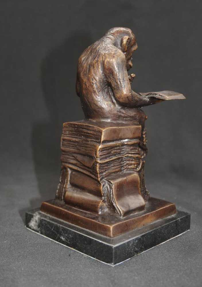 Bronze Monkey Statue Reading Ape Primate
