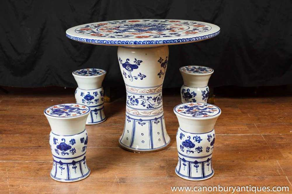 Chinese Nanking Porcelain Table Chair Garden Set Seat