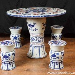 Japanese Table And Chairs Revolving Cuddle Chair Chinese Nanking Porcelain Garden Set Seat Stool Pottery