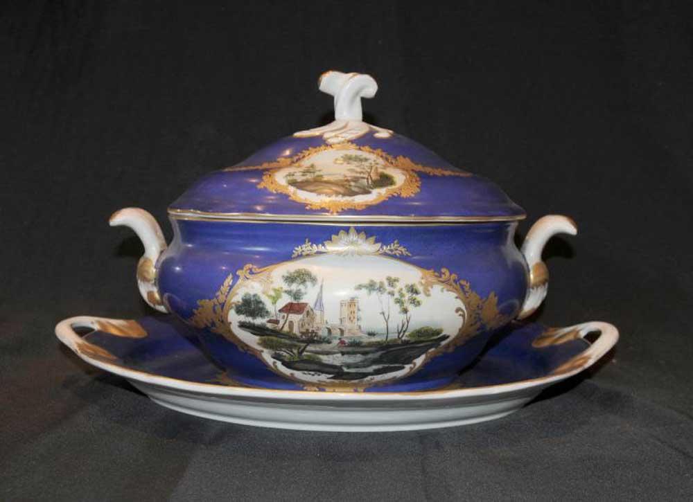 Dresden Porcelain Tureen Platter Serving Bowl Dish