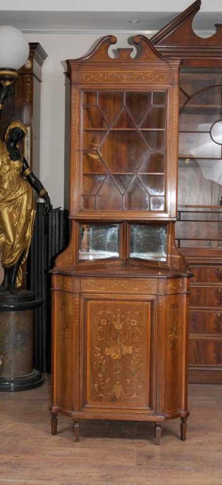 Edwardian 1910 Antique Corner Cabinet Bookcase English