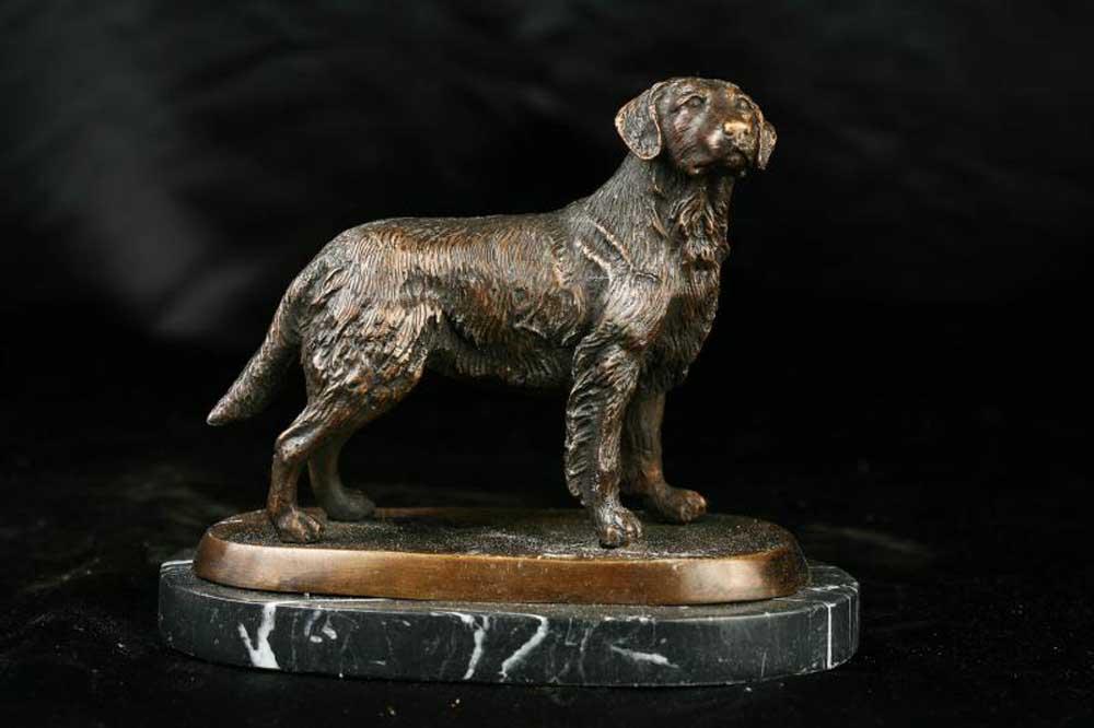 English Bronze Dog Statue Golden Retriever