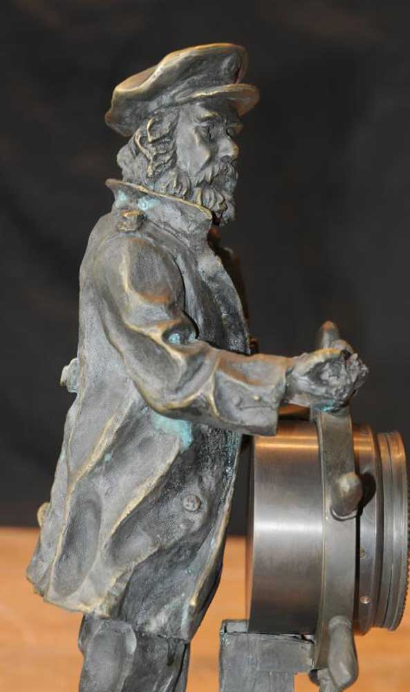 English Bronze Statue Sea Captain Helmsman Figure Ship
