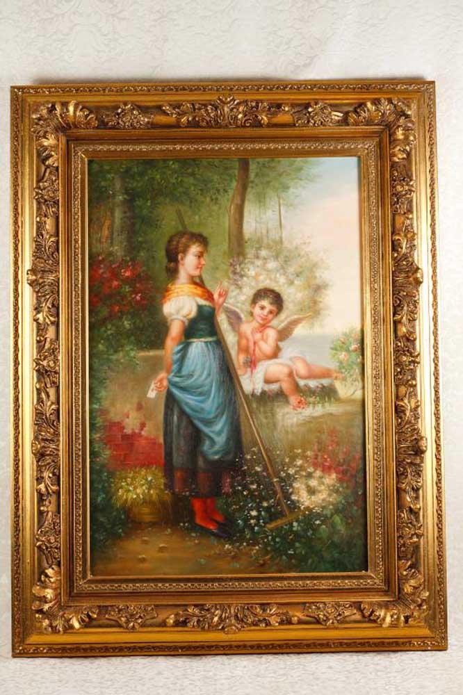English Oil Painting Portrait Cherub Maiden Signed Wilson