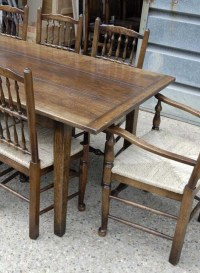 Farmhouse Refectory Table & Set 8 Spindleback Chairs ...