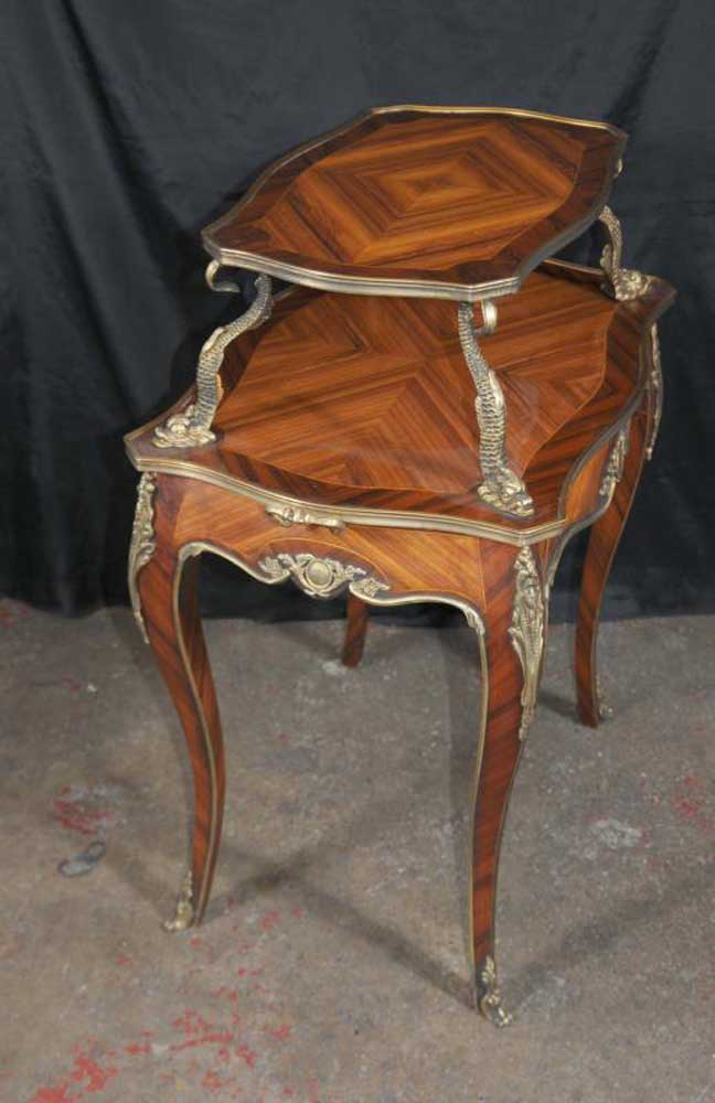 round card table and chairs straight back french louis xv tier console occassional etagere