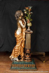 Italian Bronze Lifesize Maiden Lamp Light Statue Figurine ...