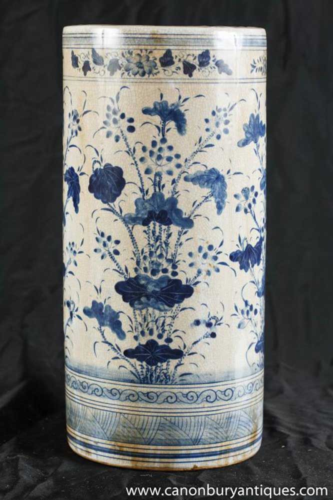 Nanking Pottery Umbrella Stand Vase Blue White Chinese Pottery