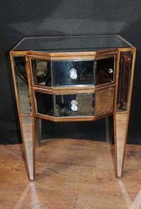 Pair Deco Mirror Nightstands Bedside Tables Chests ...