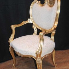 Louis Xv Chair Blue Patterned Dining Chairs Pair French Rococo Arm Armchair Fauteil Gilt