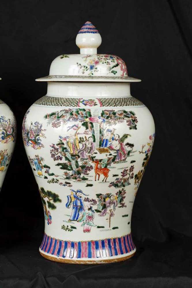 Pair Japanese Kutani Porcelain Ginger Jars Potiche Vases Urns