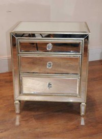 Pair Mirrored Nightstands Bedside Chests Tables