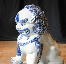 Pair Nanking Chinese Porcelain Foo Dogs Blue White