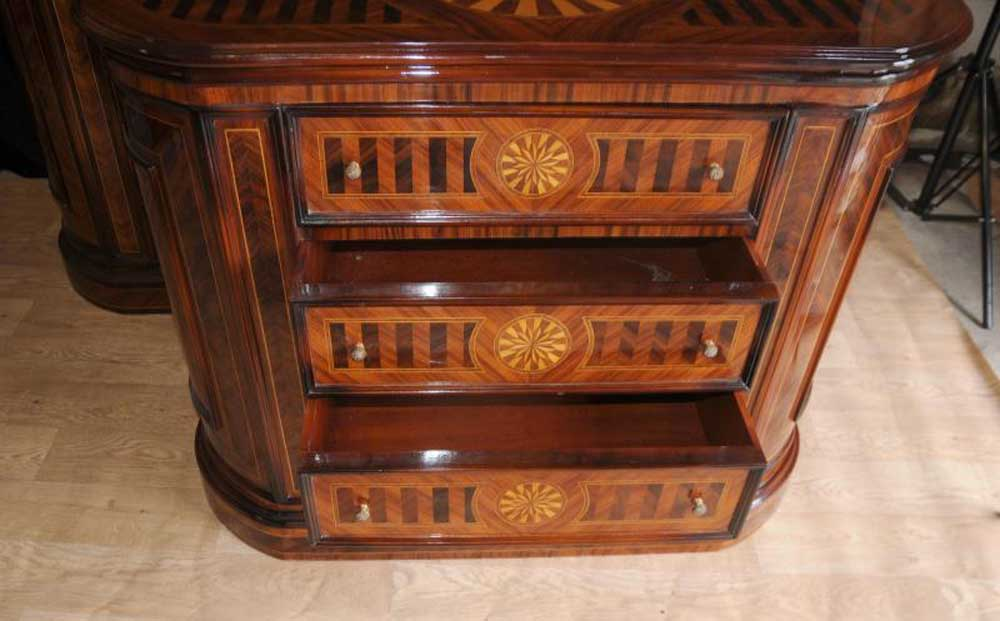 Pair Regency Inlay Commodes Oval Chest Drawers Cabinets