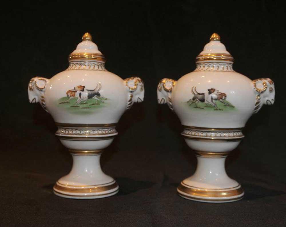Paris Sevres Beclim Porcelain Dog Vases Urns
