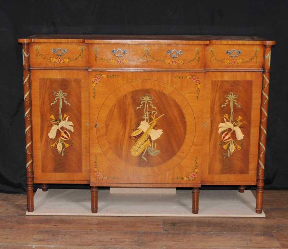 Regency Sheraton Painted Sideboard Buffet Server Cabinet