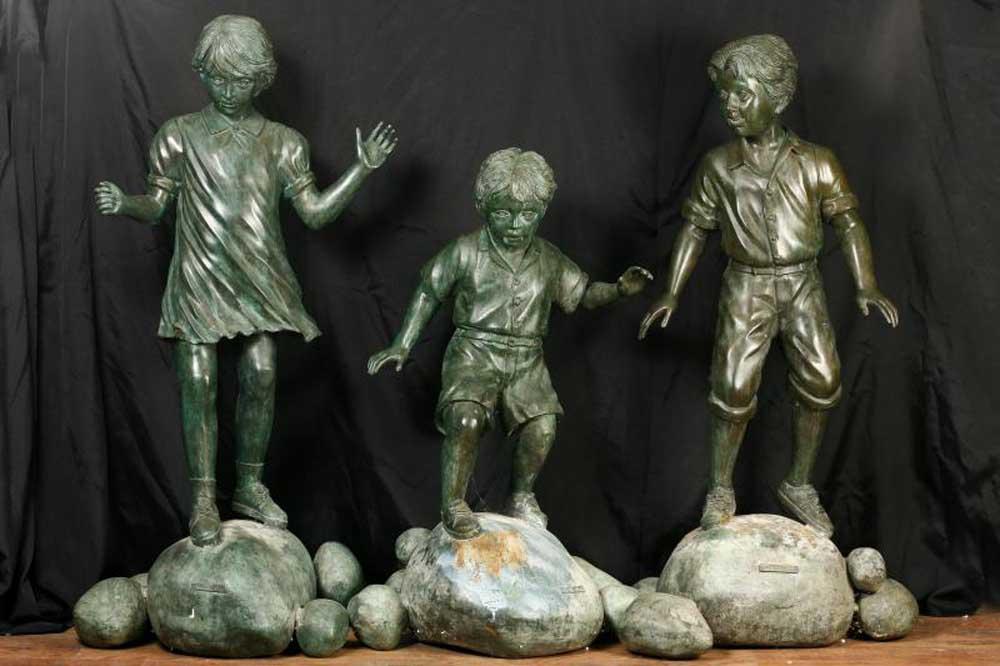 Set 3 Bronze Children Statues Signed Leonardo Rossi