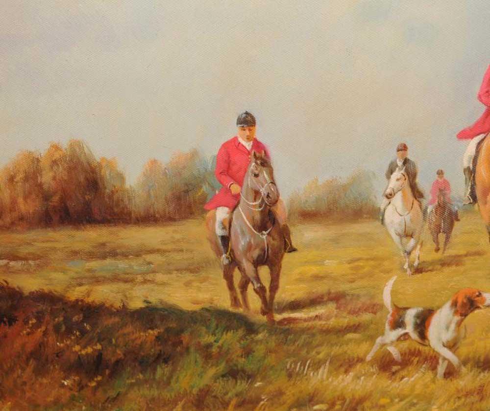 Signed Oil Painting English Hunt Scene Fox Hunting Rural Landscape Art G Roy