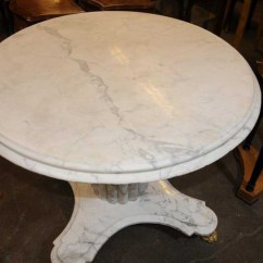 Dining Round Table And Chairs Retro Rolling White Italian Marble Centre Tables