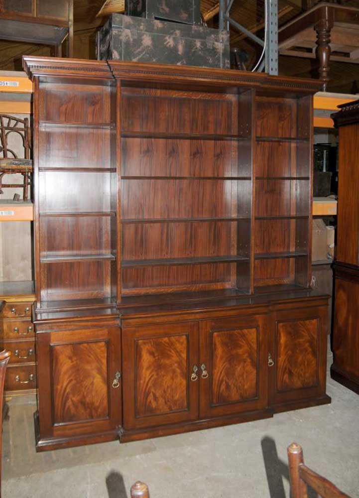 XL Victorian Breakfront Open Bookcase Cabinet Bookcases Library