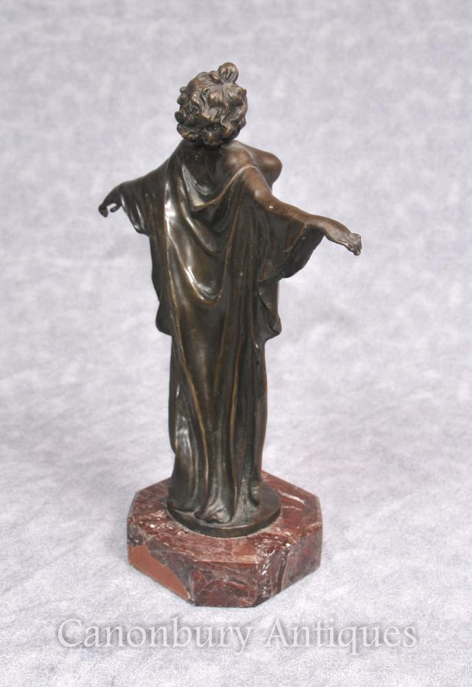 Art Deco Bronze SemiRamis Dancer Figurine Statue Female Nude