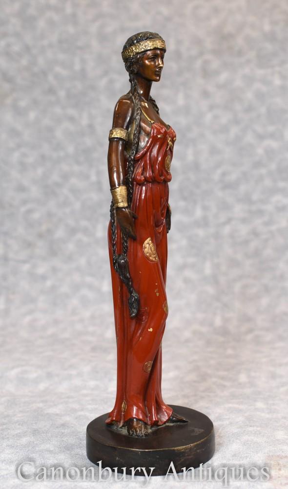 Art Nouveau Bronze Female Figurine Statue