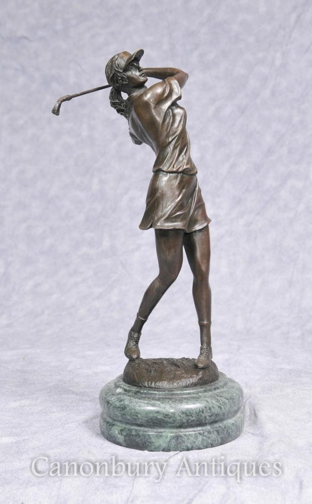 French Bronze Female Golfer Statue Signed Milo Golf Golfing