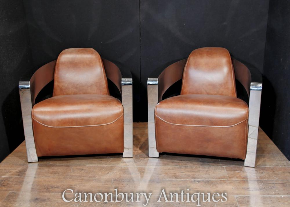 leather chrome chair safety first high pair art deco club chairs arm