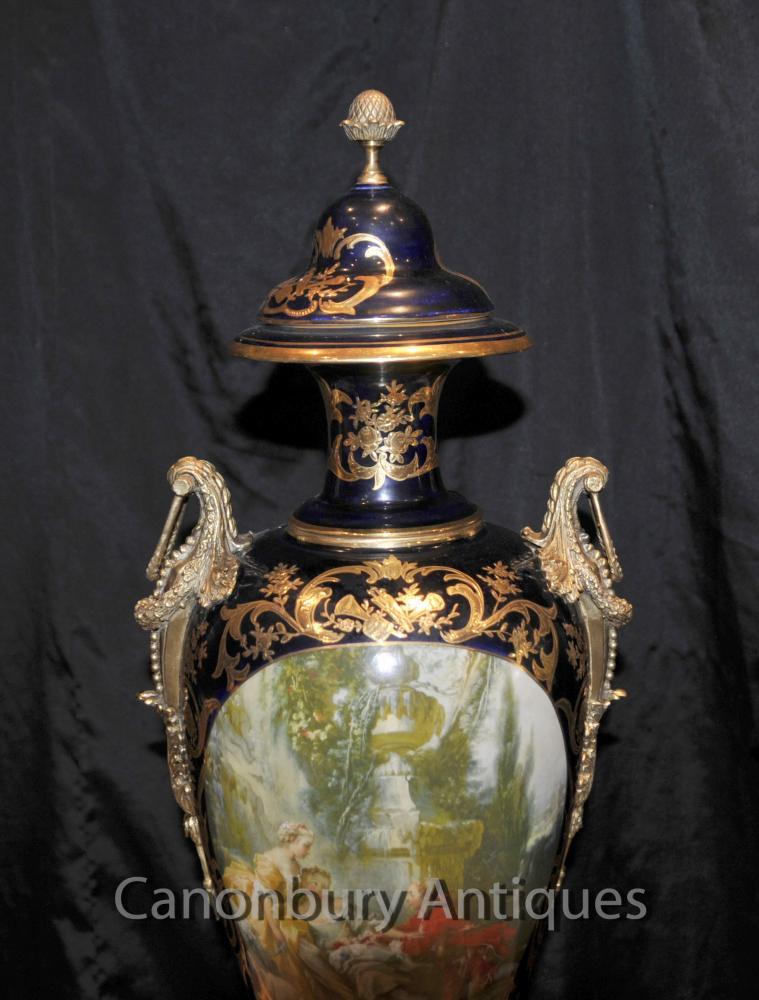 Pair Sevres Porcelain Romantic Vases Amphora Urns French