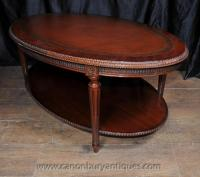 Regency Oval Coffee Table Mahogany Leather Top Tables