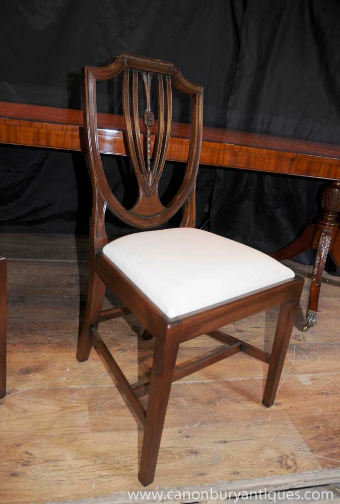 Set 8 Regency Shield Back Dining Chairs Mahogany Diners