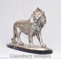 Silver Bronze Lion Statue Cats Animals Castings