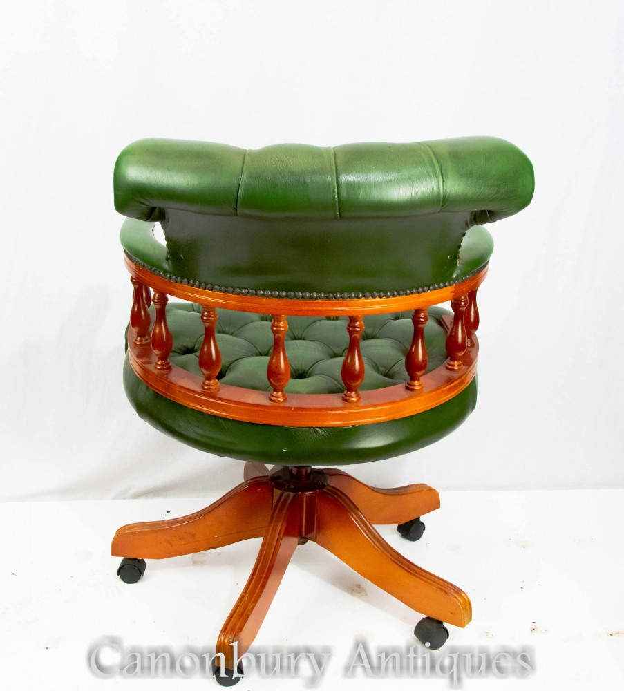 Swivel Desk Chair  Leather Captains Arm Chairs Office Seat