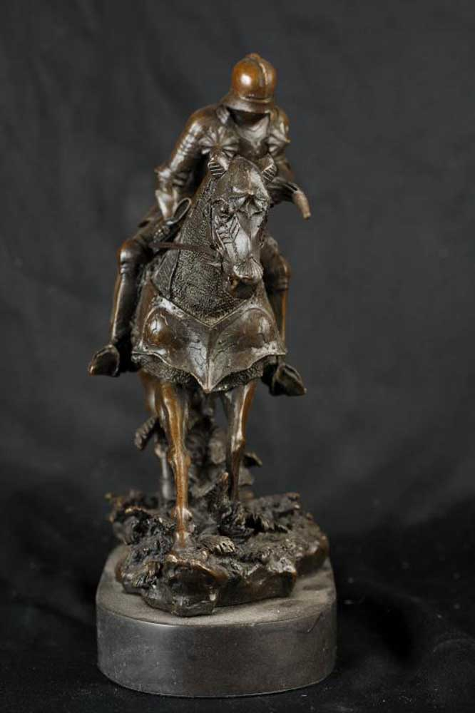 Bronze English Knight on Horse Medieval Crusades Military
