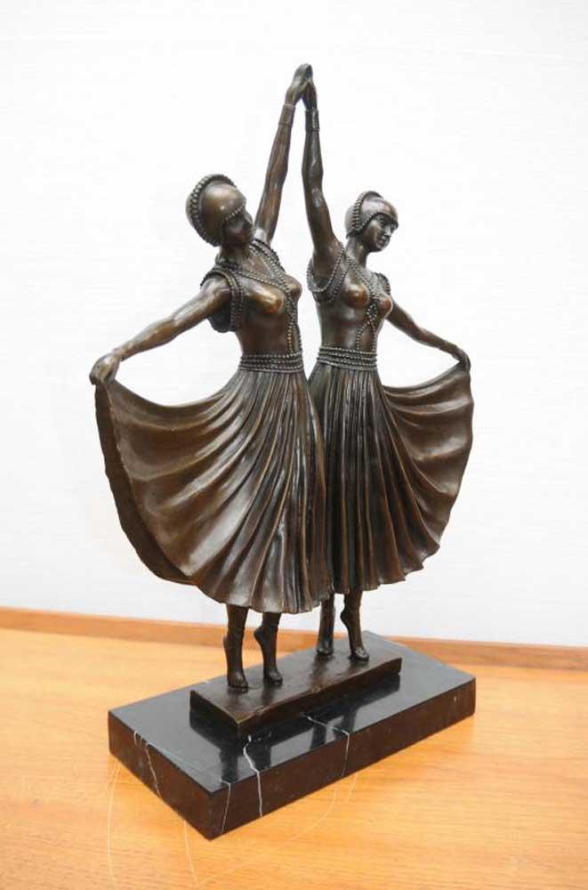 Chiparus Bronze Twin Deco Dancer Statue Figurine