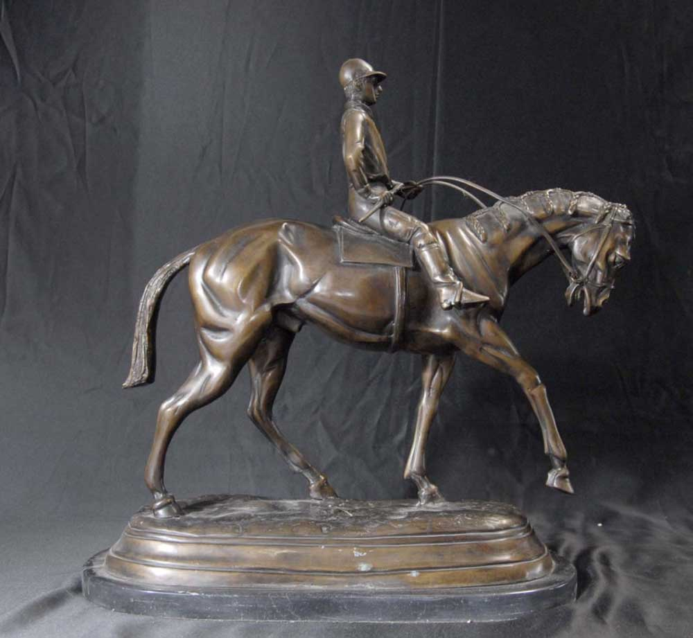 French Bronze Casting Horse Jockey Mene Sculpture Horses