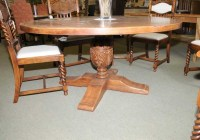 French Country Oak Round Refectory Table Kitchen