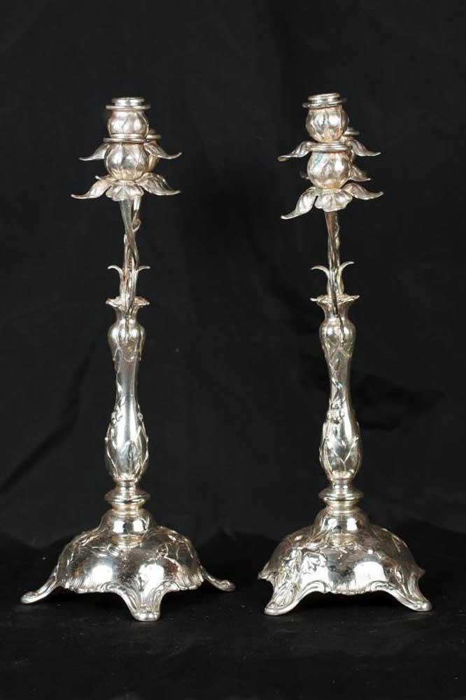 Pair Antique Silver Plate Art Nouveau Candelabras Candles