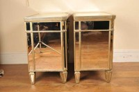 Pair Mirrored Night Stands Bedside Cabinets Deco