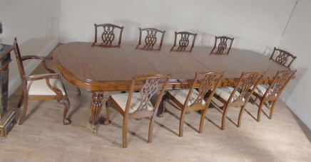 Englisch Mahagoni viktorianischen Dining Table & Set Chippendale