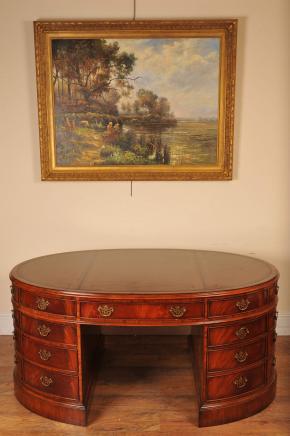 Victoriaanse mahonie Partners Desk Oval