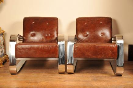 Art Deco cromo Club de sillones