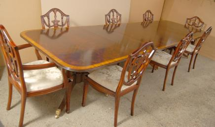 Regency Dining Table Set Pedestal Adams
