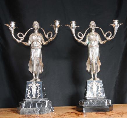 Sølvforgylt Empire lysestakar