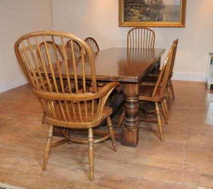 Oak Refektoriumstisch Windsor Chair Set Farmhouse
