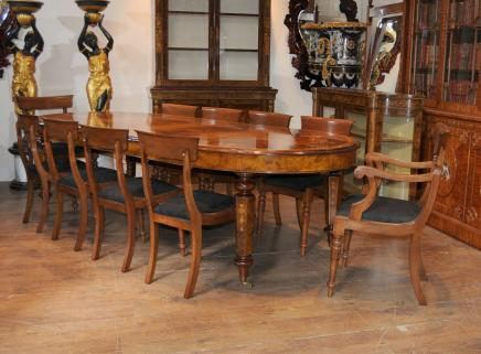Victoriaanse Walnut Table & Chair Antiek Dining Set