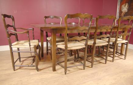 Oak Leiterrücken Chair & Refektoriumstisch Set Dining