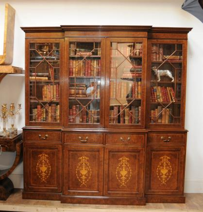 Breakfront Bücherregal Burr Walnut Sheraton Book Case