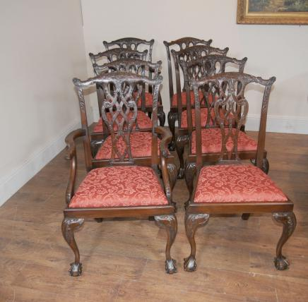Chippendale Mahagoni Dining Chairs Lions Head