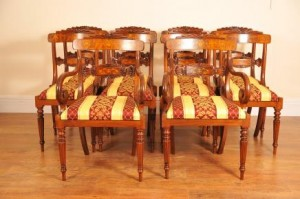 Walnut Inlay Regency Spisestuestoler